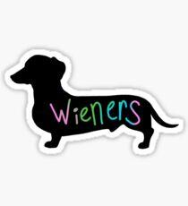 Wieners funny wiener dog dachshund silhouette rainbow Sticker