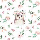 Woodland owl Nursery Decor watercolor by Tuky Waingan