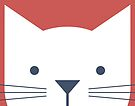Peek-a-Boo Cat, Cool Blue and Warm Red by Kendra Shedenhelm