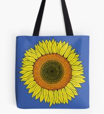 Bright Yellow Sunflowers on Blue Tote Bag