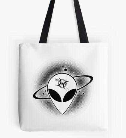 Grey Alien 01 Dark on Light Full Back Tote Bag
