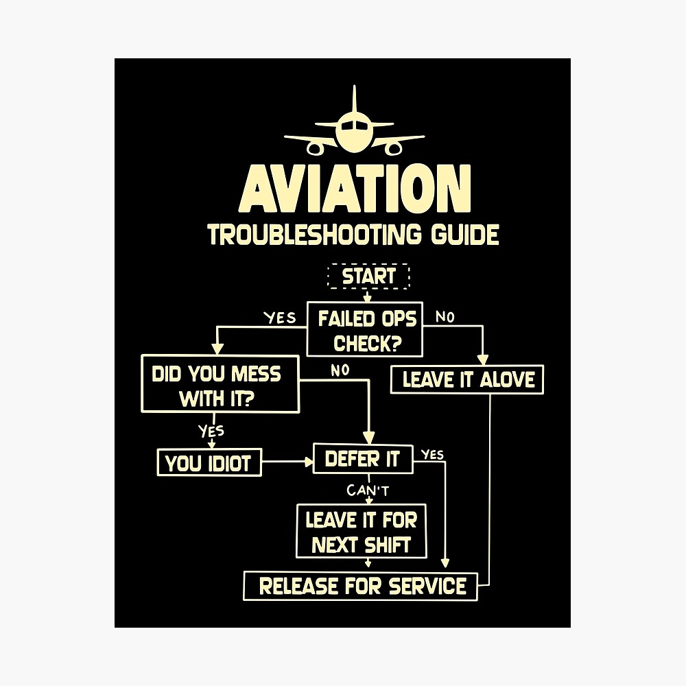 Aviation - Troubleshooting Guide Airplane Gift T-Shirt Photographic Print
