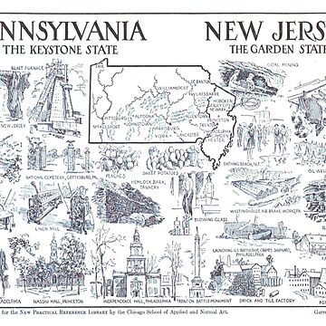 Vintage NJ y mapa ilustrativo de Pennsylvania (1912) de BravuraMedia