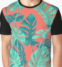 Monstera verlässt lebende Korallen. Grafik T-Shirt