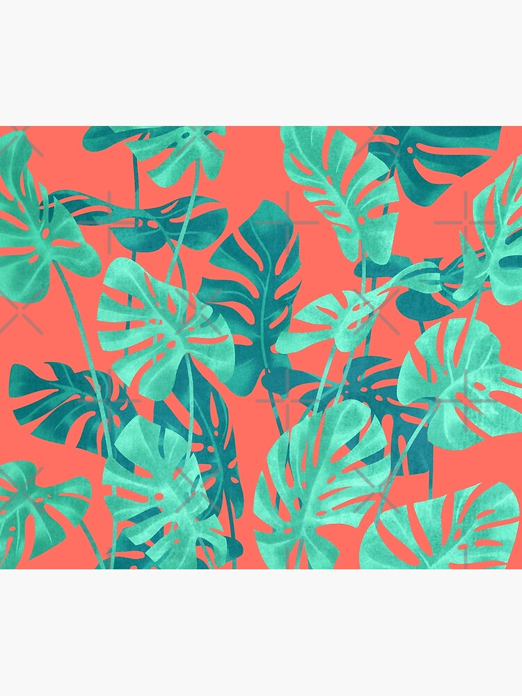 Monstera leaves on living coral. by ikerpazstudio