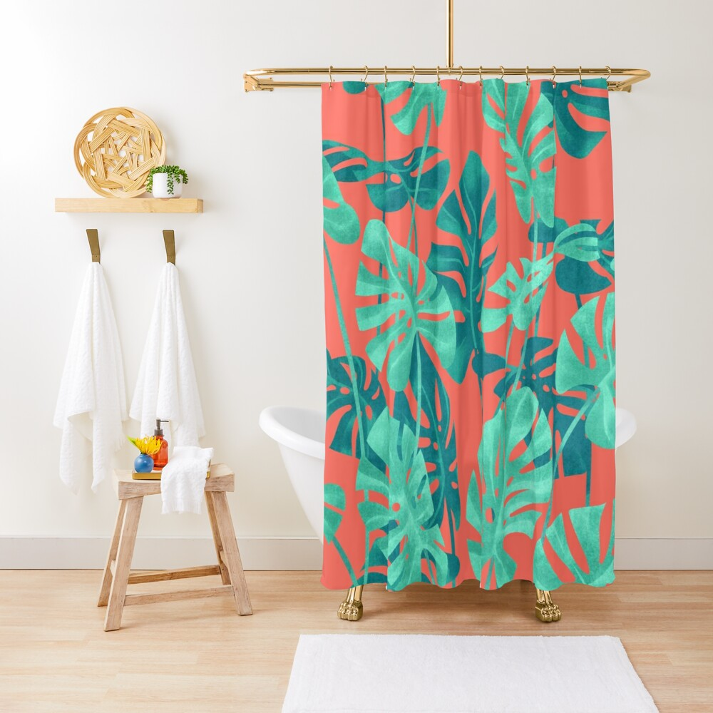Monstera leaves on living coral. Shower Curtain