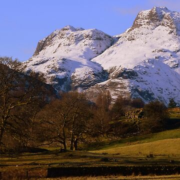 Lake District: Snow Clad Langdale Pikes by rob3003