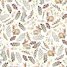 «Conejos lindos Patrón blanco vintage» de JuliaBadeeva