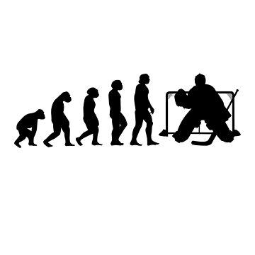 Hockey Goalkeeper Evolution Goalie Puck Gift by Rueb