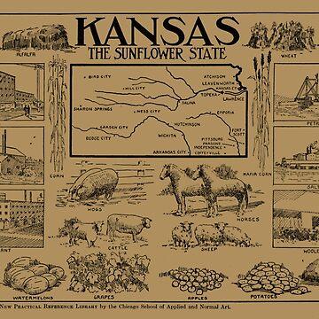 Mapa ilustrativo vintage de Kansas (1912) - Bronceado de BravuraMedia