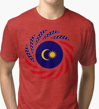 Malaysian American Multinational Patriot Flag Series Tri-blend T-Shirt