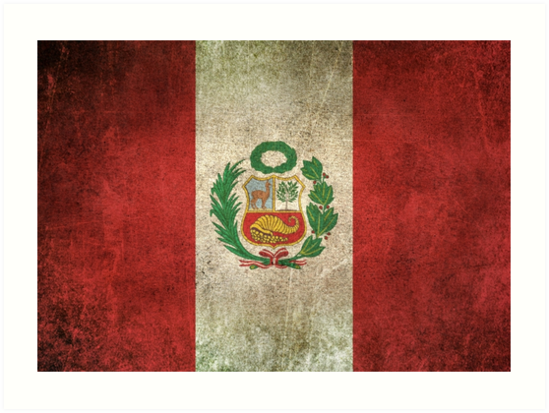 Old and Worn Distressed Vintage Flag of Peru by jeff bartels