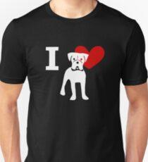 Camiseta ajustada Amo a los boxeadores Amo a los boxeadores
