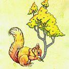 Oak Tree Squirrel by LonelyTreeArt