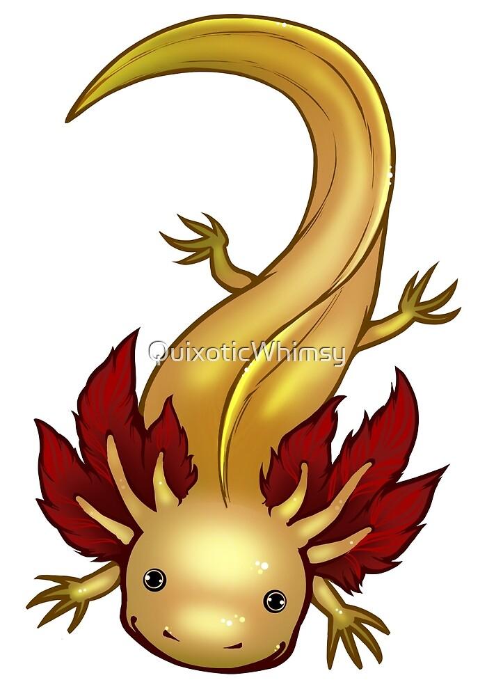 Leucistic GFP Axolotl by QuixoticWhimsy