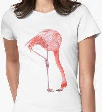 Watercolor Flamingo  Fitted T-Shirt