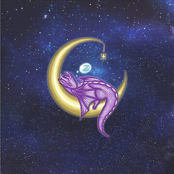 Purple Baby Moon Dragon Tshirt by NicholiCosplay