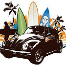 Surfs Up, VW Beetle Vector Art by jay007