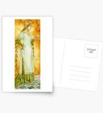 Lady Reading Postcards