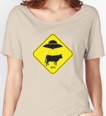 UFO traffic hazard sign Women's Relaxed Fit T-Shirt