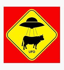UFO traffic hazard sign Photographic Print