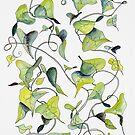 Blaue und grüne Reben, Muster von JRoseDesign