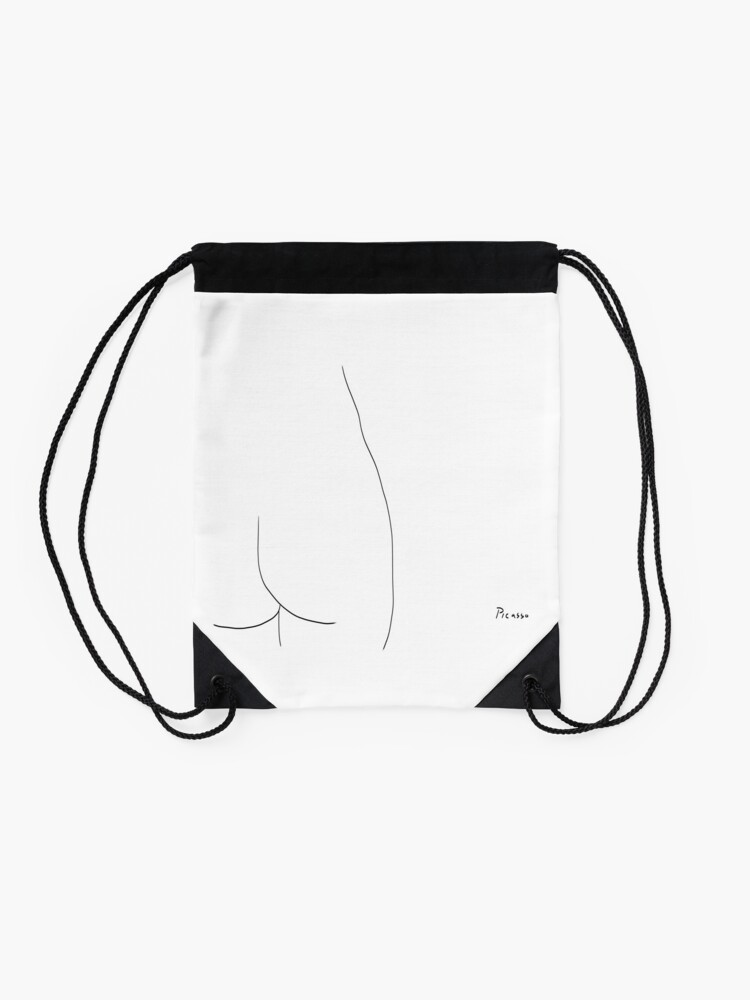 Alternate view of Picasso Line Art - Butt Drawstring Bag