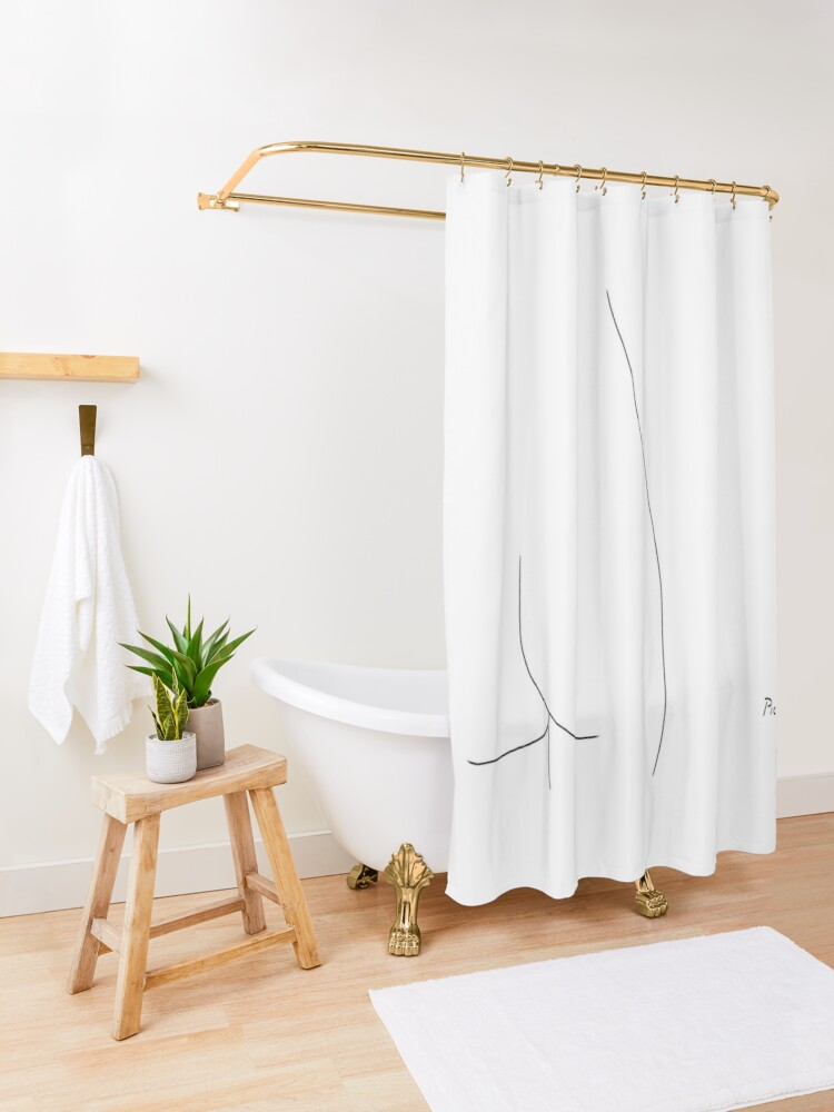 Alternate view of Picasso Line Art - Butt Shower Curtain