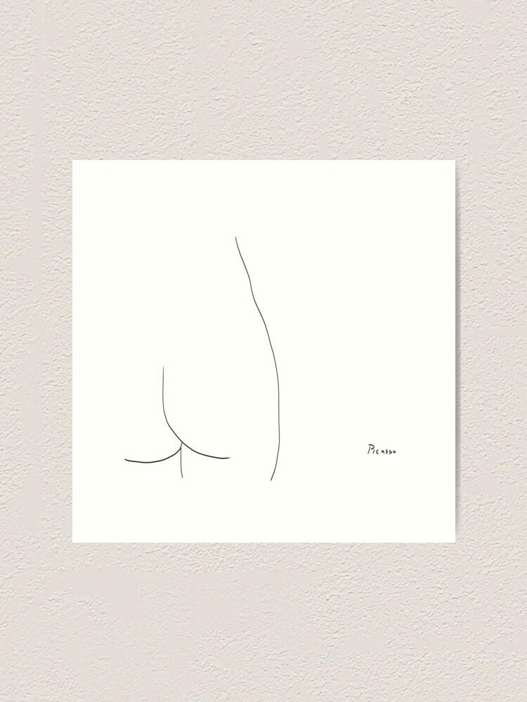 Alternate view of Picasso Line Art - Butt Art Print