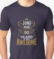 Born in June 1969 50th Years of Being Awesome Slim Fit T-Shirt