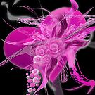 Pink Heart Flower black by mjvision Mia Niemi by mjvisiondesign