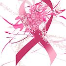 Pink Flowers Ribbon white by mjvision Mia Niemi by mjvisiondesign