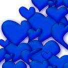 Blue Hearts white by mjvision Mia Niemi by mjvisiondesign