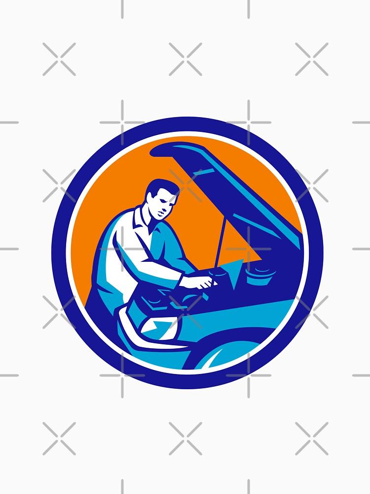Auto Mechanic Car Repair Circle Retro by patrimonio