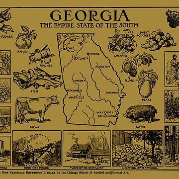 Mapa Vintage de Georgia (1912) - Tan de BravuraMedia