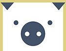 Peek-a-Boo Pig, Square Head, Navy and Gold by Kendra Shedenhelm