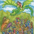 Ingeborg Flying on Esmeralda the Dragon by astrongwater