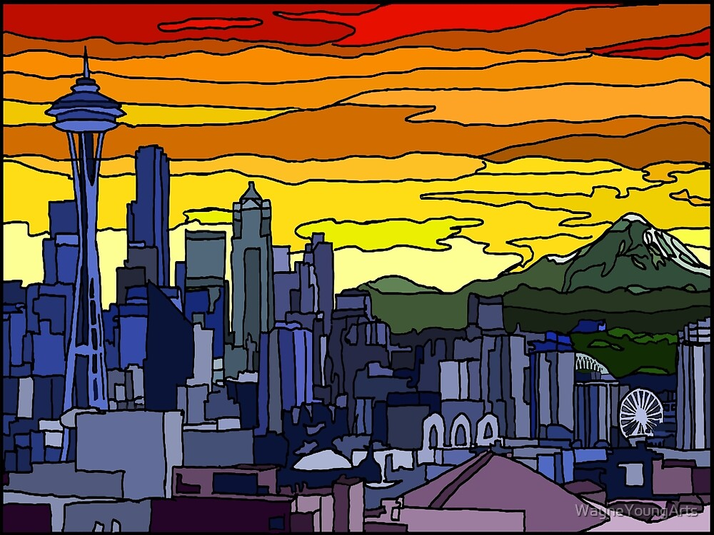 Seattle Pride Cityscape by WayneYoungArts