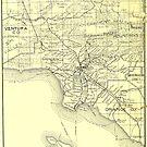 «Mapa vintage del condado de Los Ángeles (1895)» de BravuraMedia