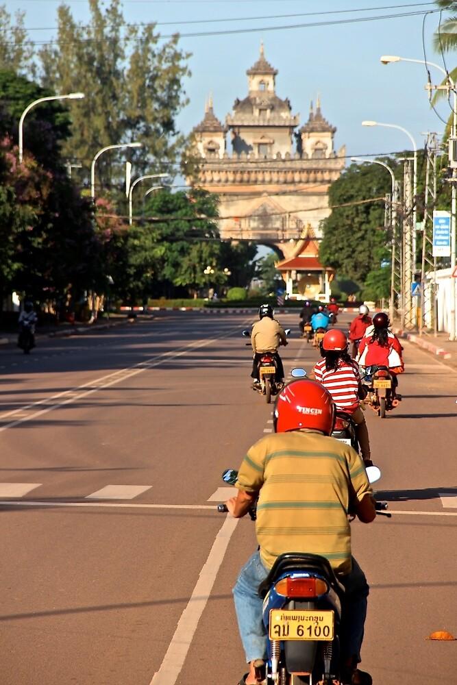 Ride at Sunrise - Vientiane, Laos. by Tiffany Lenoir