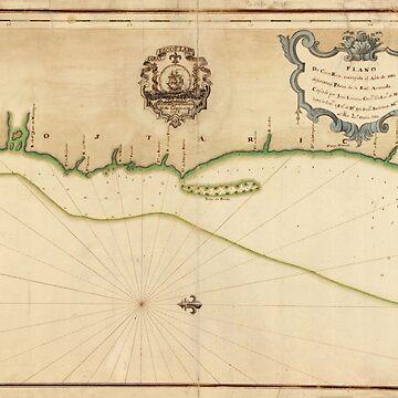 Mapa vintage de la costa de Costa Rica (1758) de BravuraMedia