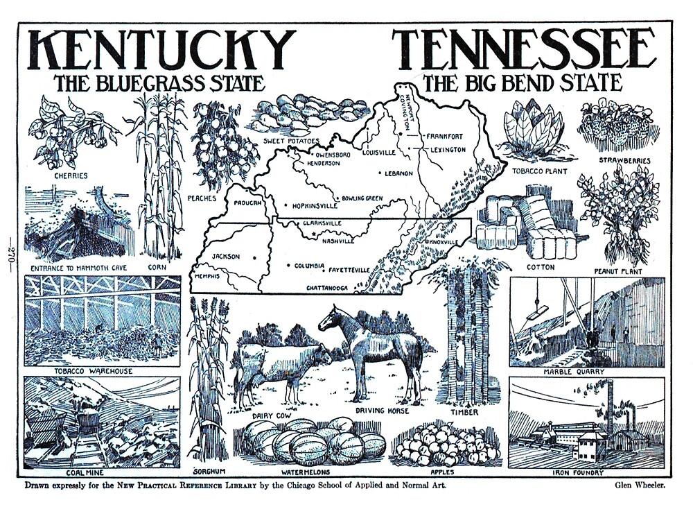 Mapa ilustrativo vintage de Kentucky y Tennessee (1912)» de ...