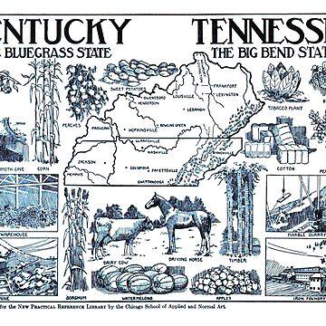Mapa ilustrativo vintage de Kentucky y Tennessee (1912) de BravuraMedia
