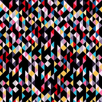 Buntes modernes Geometrie-Dreieck-Konfetti mit schwarzem Hintergrund von MyArt23