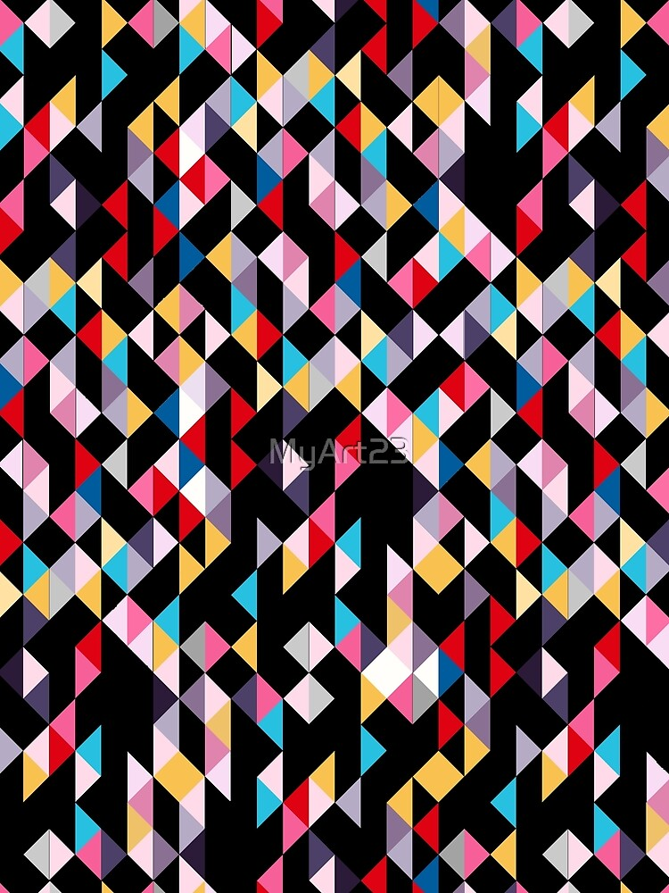 Colorful Modern Geometry Triangle Confetti with Black Background by MyArt23