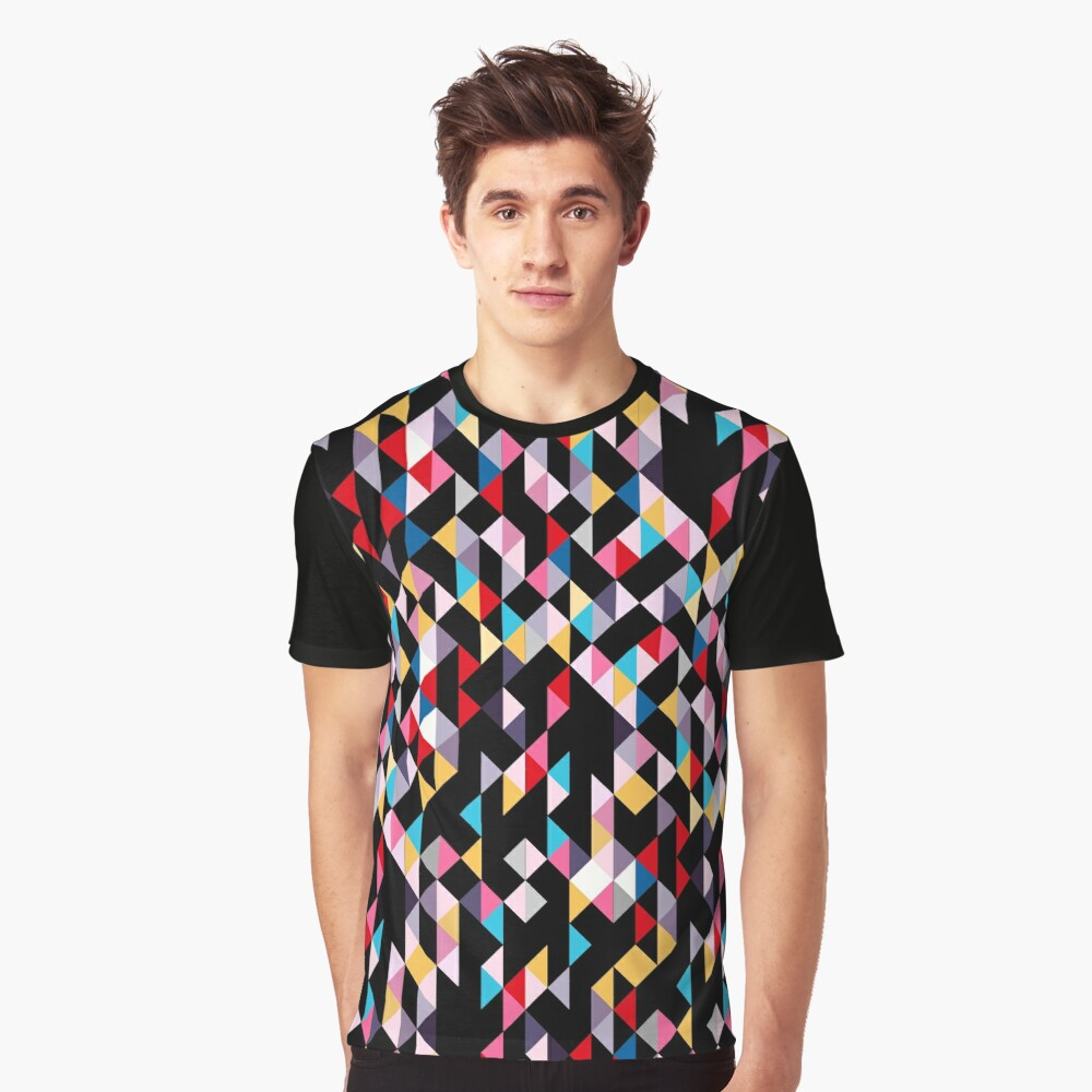 Colorful Modern Geometry Triangle Confetti with Black Background Graphic T-Shirt
