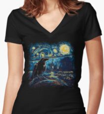 Starry Night's Watch Women's Fitted V-Neck T-Shirt