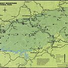 «Mapa del Parque Nacional de las Montañas Humeantes (1980)» de BravuraMedia