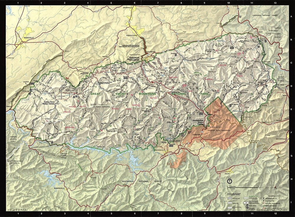 «Mapa del Parque Nacional de las Grandes Montañas Humeantes (1997)» de BravuraMedia