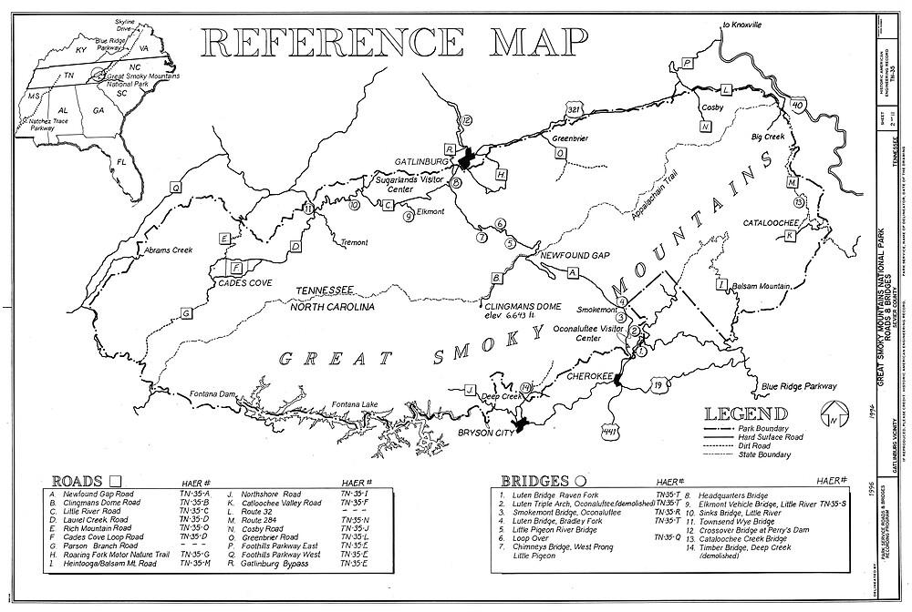 «Mapa del Parque Nacional de las Grandes Montañas Humeantes (1996)» de BravuraMedia